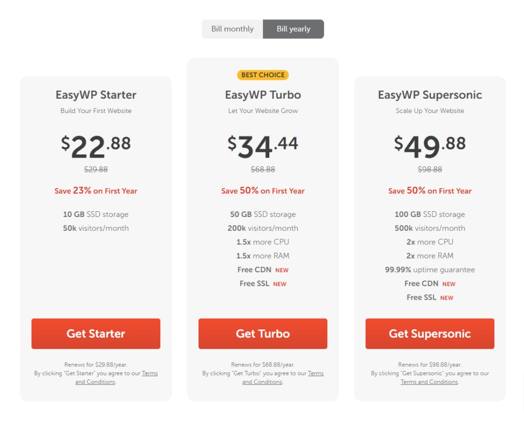 Easywp Hosting Plans