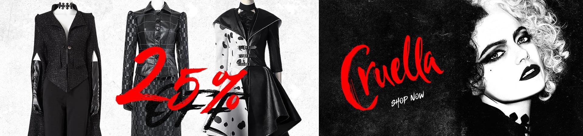 25% Off for Cruella de Vil Cosplay Costumes