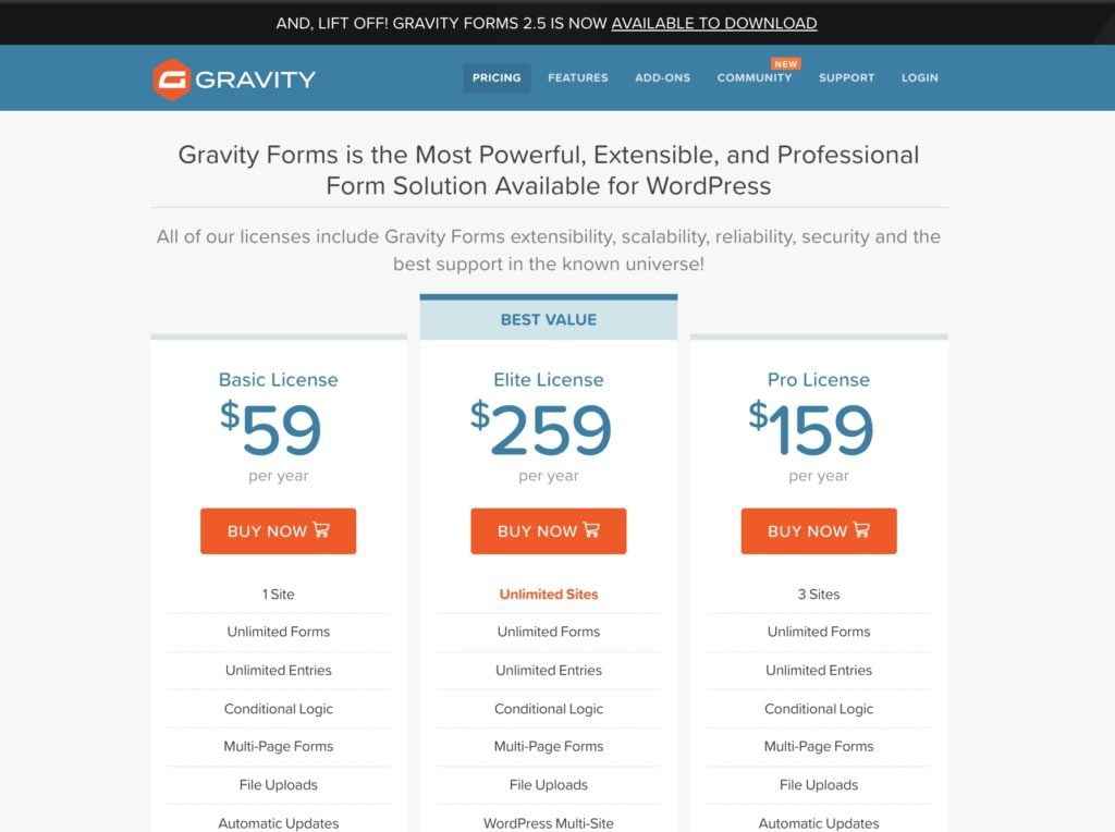 Gravity Form Pricing