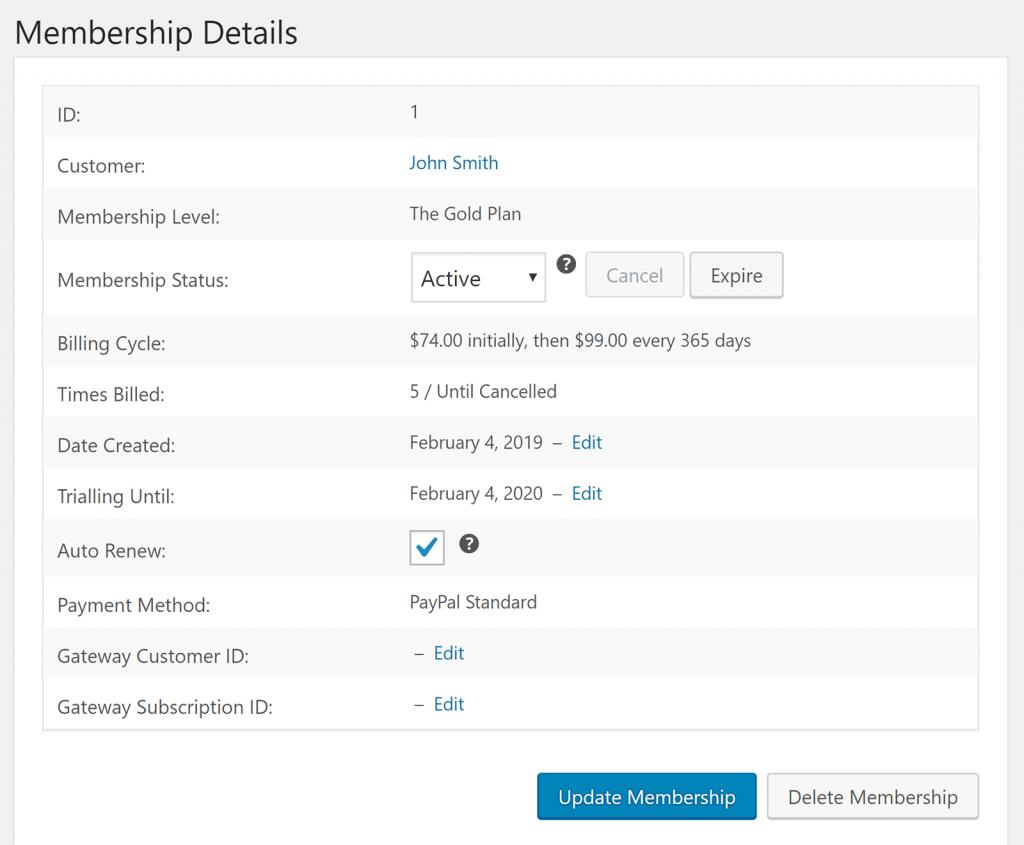 Restrict Content Pro Membership Details Page