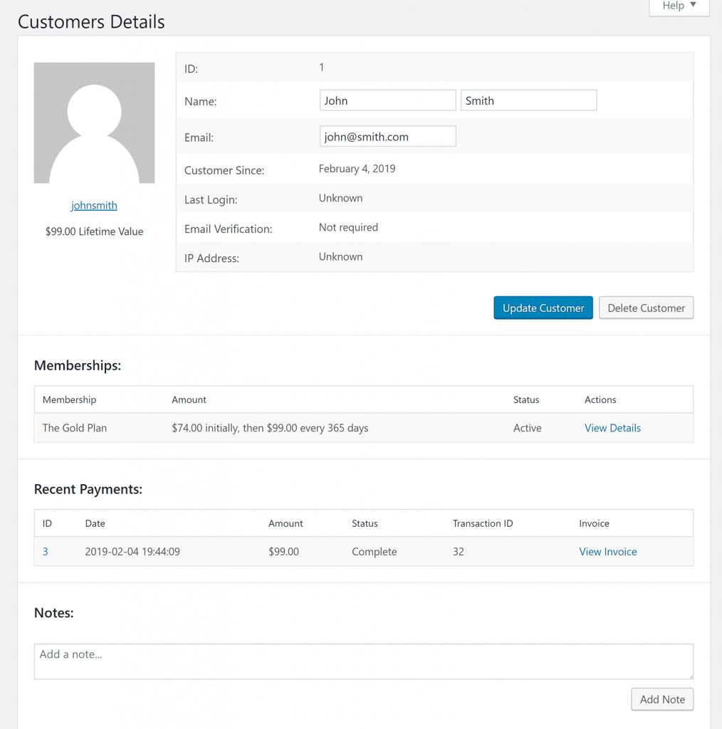 Restrict Content Pro Customer Details