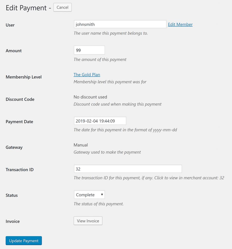 Restrict Content Pro Edit Payment