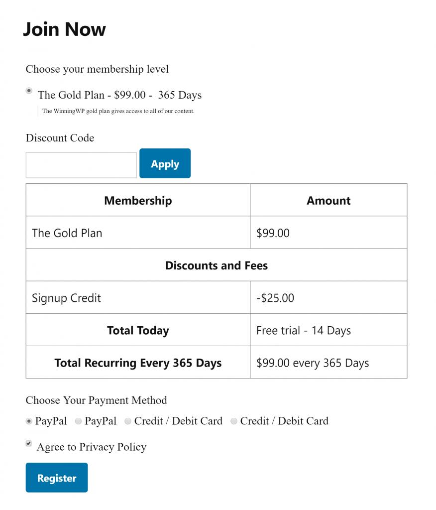 Restrict Content Pro Registration Form